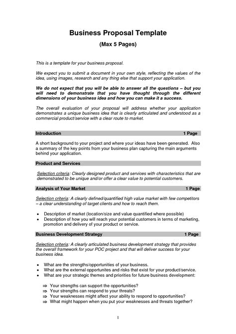 printable sample business proposal template form forms