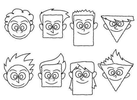 drawing cartoon faces  simple shapes