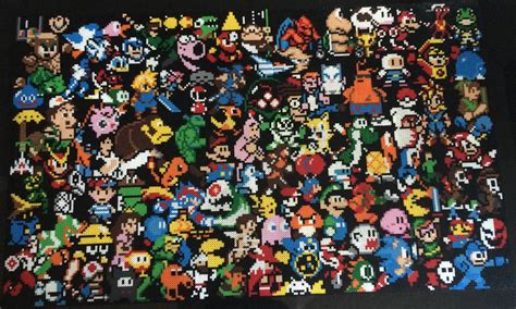 Video Game Classics On A Lego Wall Gaming