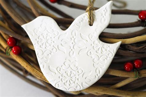 pair  ceramic white dove christmas ornaments felt