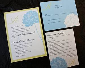 light blue peony with yellow monogram wedding invitations With wedding invitation sample light blue