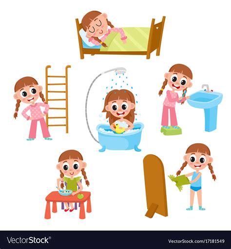daily morning routine set cartoon  girl vector image