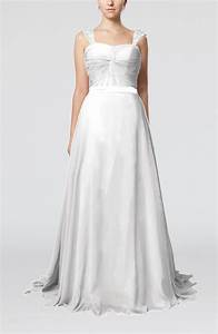 white romantic a line thick straps zip up brush train sash With romantic dresses for wedding guests
