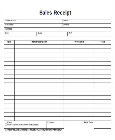 printable sales receipt sle 7 exles in word pdf