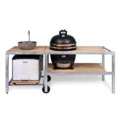 mobile kitchen island table outdoor küche mit monolith grill spüle und kühlbox