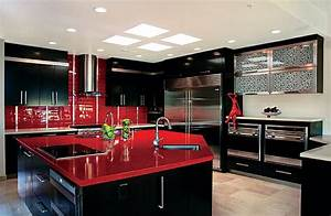 Red and black kitchens home design for Kitchen colors with white cabinets with red umbrella canvas wall art