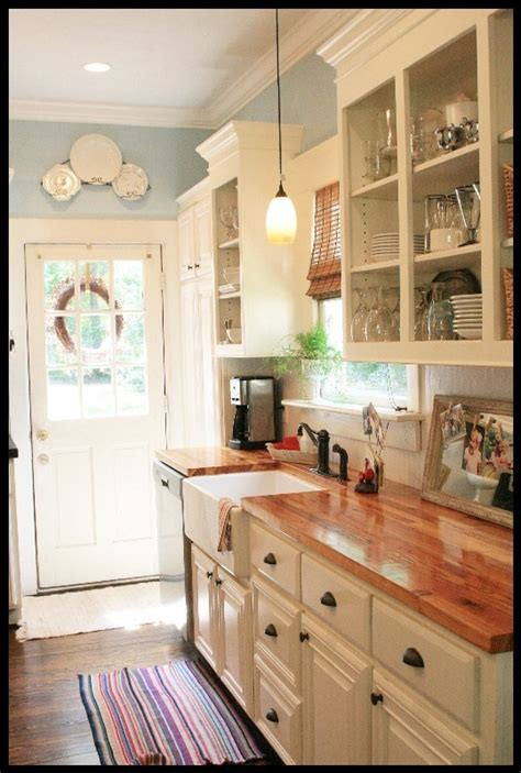 farmhouse kitchen counter decor white cabinets butcher block countertops farmhouse sink Farmhouse Kitchen Counter Decor