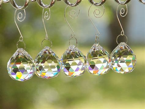 5 pcs clear lead crystal ball prisms christmas ornaments