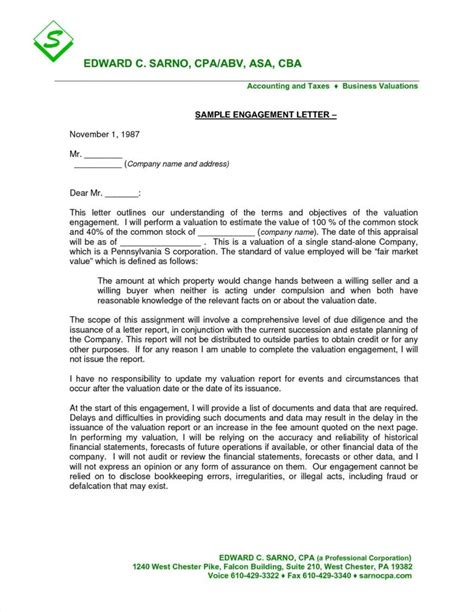 valid appraisal engagement letter template tinplateco