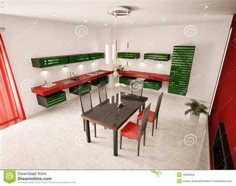 Interior Of Modern Kitchen Top View 3d Render Stock Images