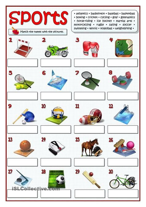 twenty sports esl worksheets of the day sport sport sports and student centered