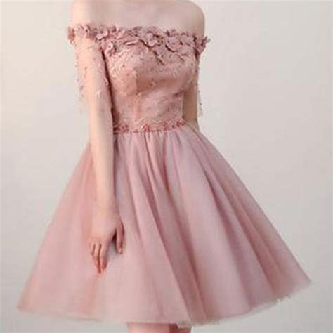 dusty pink  shoulder short sleeves cheap homecoming