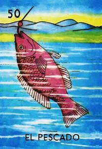 Loteria El Pescado Mexican Retro Illustration Art Print