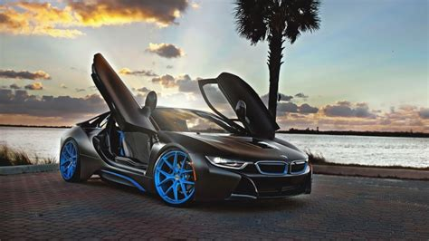 black concep car bmw  blue wheels
