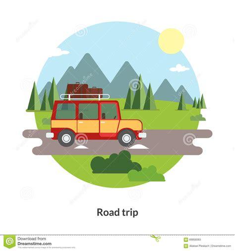 road trip flat design icon travel  car stock vector
