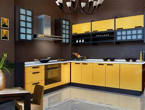 black  yellow color schemes  modern kitchen decor