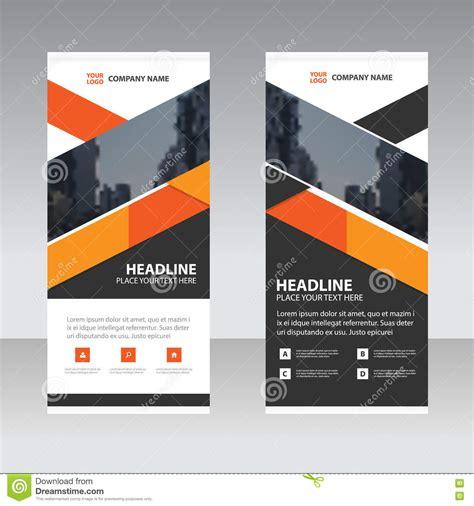 orange black triangle business roll  banner flat design
