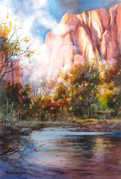 national park zion river misty watercolor roland paintings lee painting artist virgin landscape parks rolandlee watercolors oil utah trees watercolour
