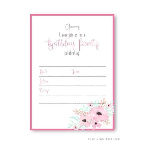 secret garden floral birthday party invitation  girls