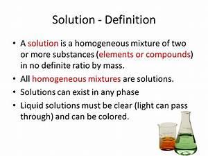 SOLUTIONS Homogeneous Mixtures. - ppt video online download