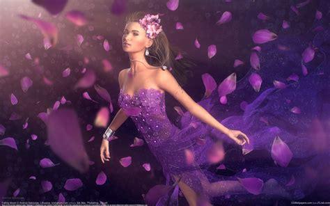 Download Wallpaper 1920x1200 Fantasy Girl Purple Petals Hd