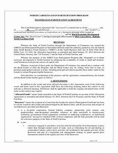 north carolina loan participation program free download With participation agreement template