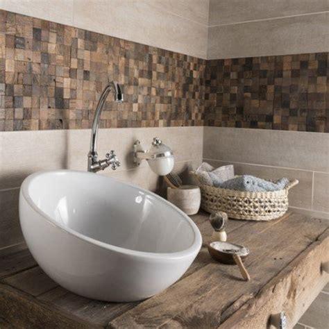 facade meuble cuisine bois brut carrelage sol et mur beige taiga l 15 x l 90 cm leroy