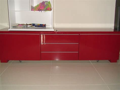 ikea besta burs tv stand unit red high gloss  sale