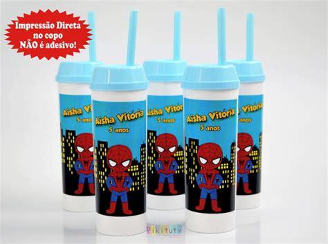 Copo Long Drink c/ canudo Homem Aranha Baby no Elo7