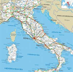 Ancient Roman Roads Overlaid On A Modern Road Map Of Italy