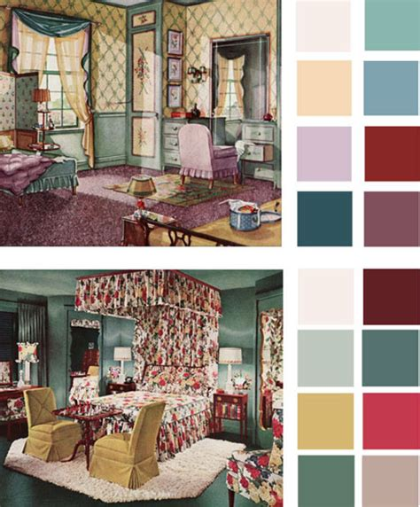 6 color palettes based early 1900s vintage bedrooms