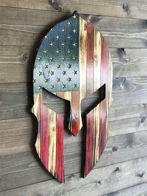 wood spartan helmet man cave decor wood american flag