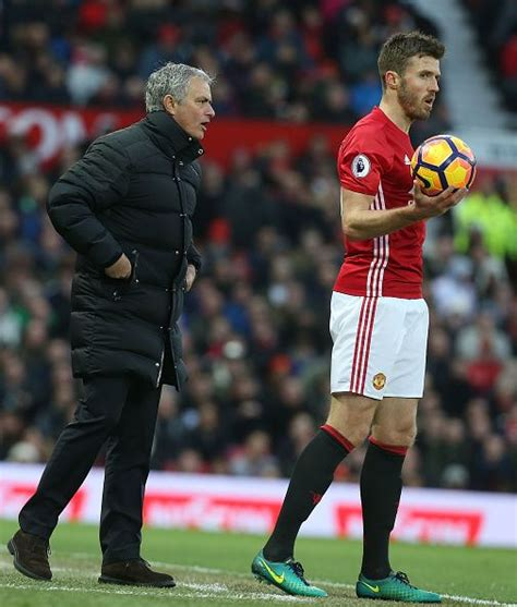 Manager Jose Mourinho of Manchester United speaks to ...
