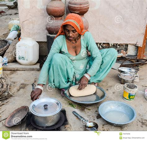 rural woman cooking chapati editorial photo image