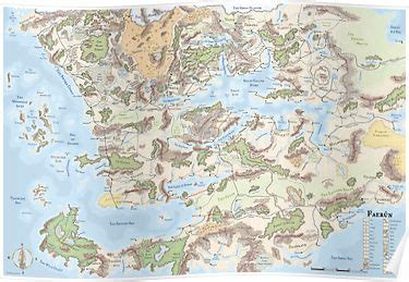 map  faerun  poster products   fantasy world