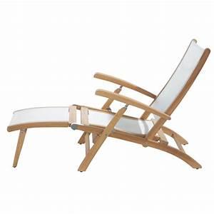 Chaise Jardin Bois : chaise longue de jardin blanche bois teck capri maisons du monde ~ Teatrodelosmanantiales.com Idées de Décoration