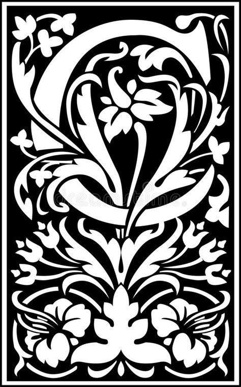 decorative letter b flowers decorative letter c balck and white stock vector 15692