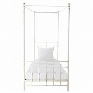Lit Metal Blanc : lit baldaquin 90 x 190 cm en m tal blanc syracuse maisons du monde ~ Teatrodelosmanantiales.com Idées de Décoration