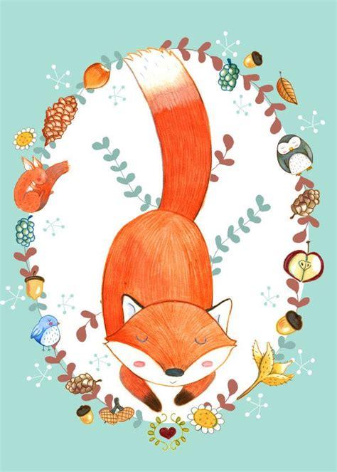 sleeping fox kids room poster print metal posters fox