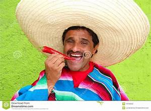 Mexican Man Poncho Sombrero Eating Red Hot Chili Stock ...
