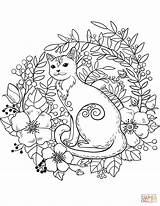 Coloring Cat Forest Cats Animals Printable Mandala Colouring Sheets Adult Supercoloring Nature Bible Chicken Adults Dog Crafts Drawings Cartoons Select sketch template