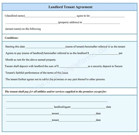 Landlord Tenant Contract Template by Template Landlord Contract Template