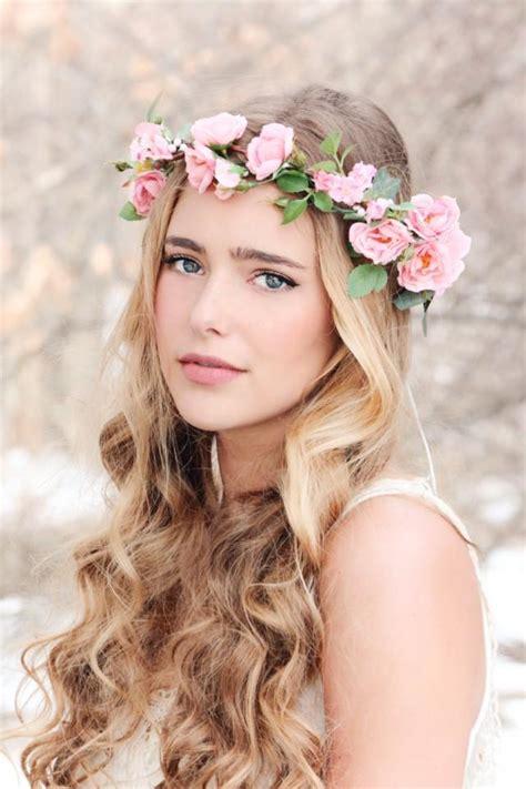 flower crown pink rose wreath bridal hair woodland