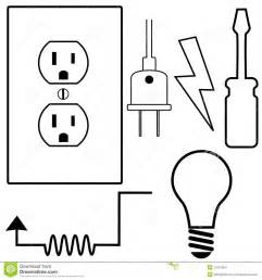 Light Bulb Socket With Cord by Electrical Repair Electrician Symbol Icons Set Stock