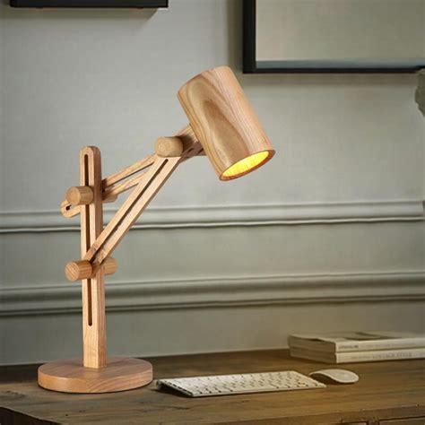 wood adjustable desk lamp  wooden shade lever