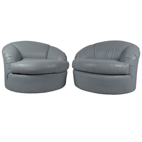 pair of contemporay swivel club chairs for sale at 1stdibs