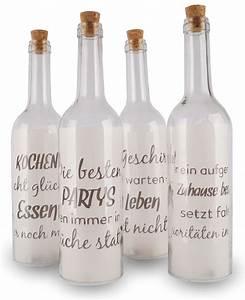 Flasche Mit Lichterkette : 4 deko led flaschen 30x7cm glas k che lustige spr che korken levandeo ~ Frokenaadalensverden.com Haus und Dekorationen
