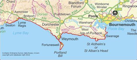 jurassic coast england devon walking map   south west