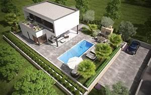 Haus Garten : beautiful modernes haus mit pool und garten pictures ~ Lizthompson.info Haus und Dekorationen