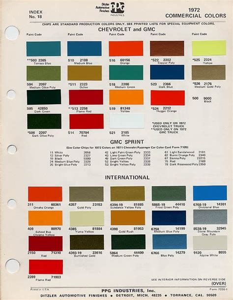 chevy colors factory blazer colors the 1947 present chevrolet gmc